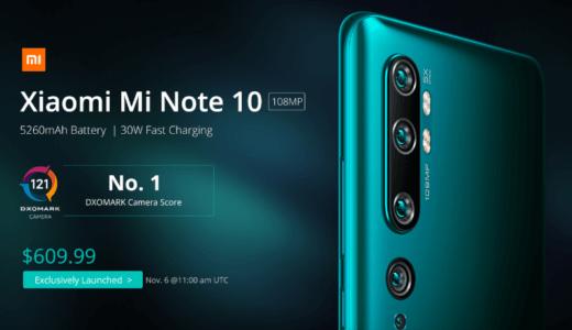 1億800万画素のカメラを搭載したスマホ -Xiaomi Mi Note10【1万円割引クーポンあり】